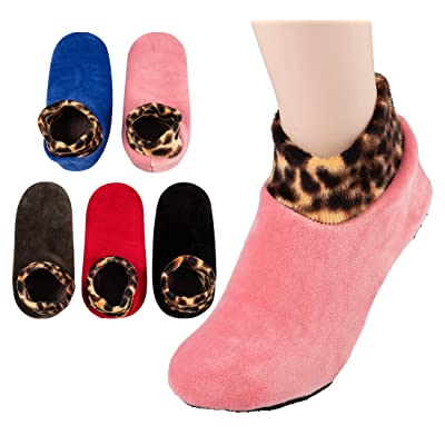 5 PAIRS, Womens warm Socks, Stretch Velvet, Cozy slippers women, Non Slip by Grippers in Hospital/Nursing Home at Women's Clothing store