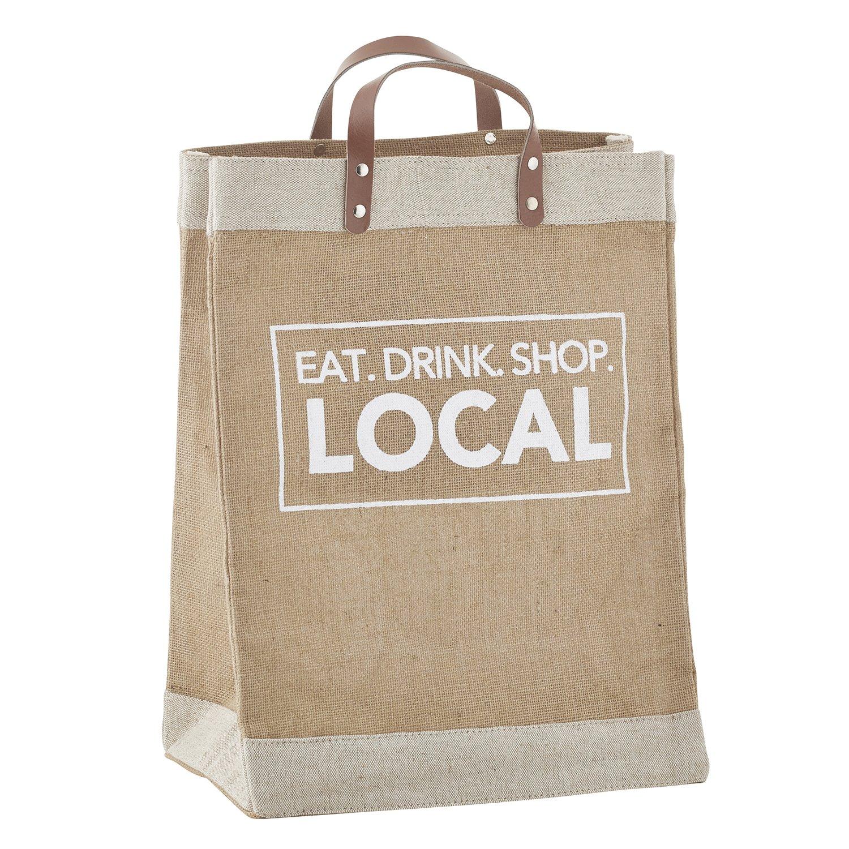 SBデザインStudio再利用可能なGrocery Tote Bag Extra耐久性50 +純正レザーハンドル防水 Extra Large B079SCFZ1Y Eat Drink Shop Local Eat Drink Shop Local