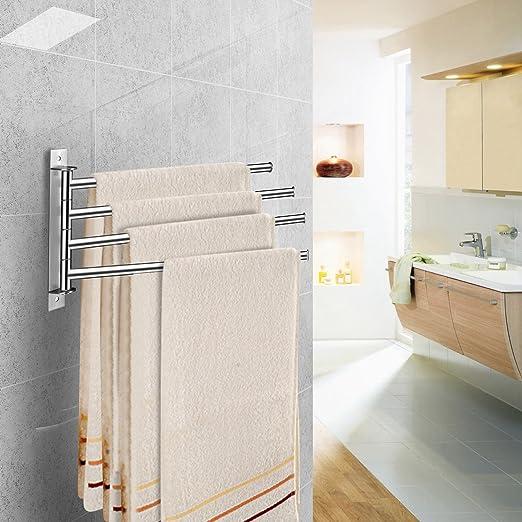 qobobo® 360 ° de rotación de toalla de acero inoxidable estante de toalla gancho de baño toallero con 4 brazos y simplemente elegante