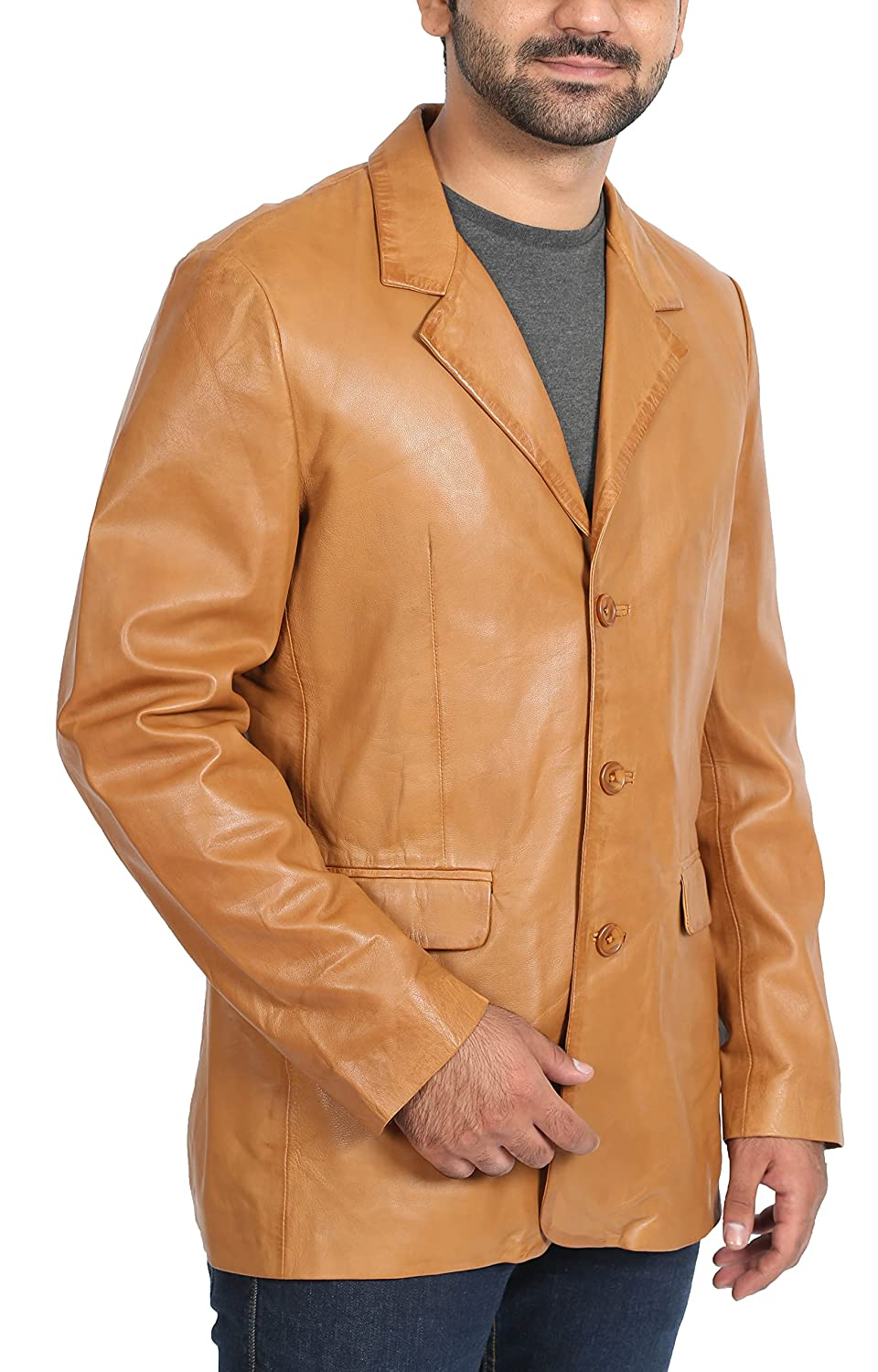Mens Leather Classic Blazer Suit Jacket Three Button Notched Lapel Carter Tan at Amazon Mens Clothing store: