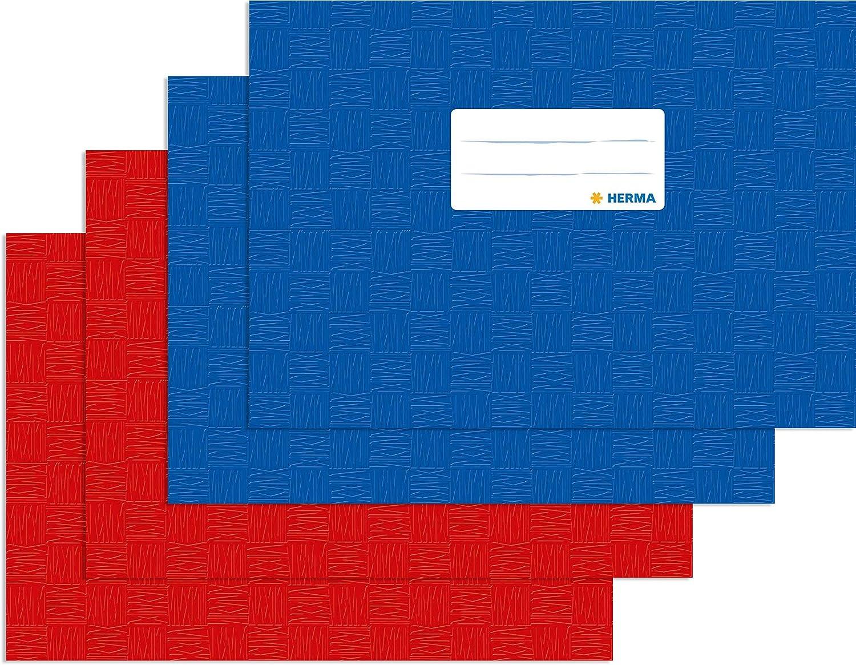 rot gedeckt mit Baststruktur 1 Heftschoner f/ür Schulhefte Herma 7412 Heftumschlag DIN A5 quer Kunststoff