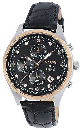Reloj Inteligente híbrido NYSW, 12 Piezas de índice de Cristal, Gran Cristal de Zafiro