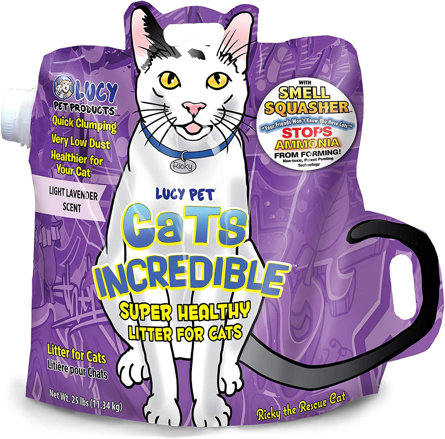 Lucy Pet Cats Incredible Clumping Cat Litter with Smell Squasher, Absorbent Natural Clay Formula Prevents Ammonia Build-Up