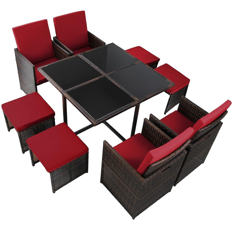Ventus 17 Teilige Luxus Rattan Sitzgruppe BELLINI Mit 4 Stühlen, 4 Hockern  Und 1 Tisch Lounge Set Poly Rattan Inkl. Auflagen Und Bezüge Gartenmöbel ...