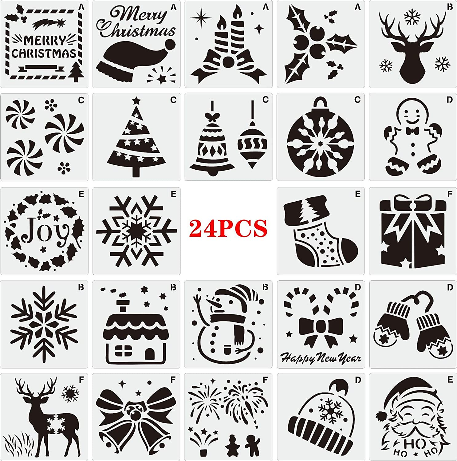 Christmas Painting Stencils 3 x 3 Inch Templates Reusable Plastic Sign Stencils Template for Wood Slice Scrapbooking Cookie Tile Furniture Wall Floor Decor DIY Art Supplies(24pack-Christmas Element)