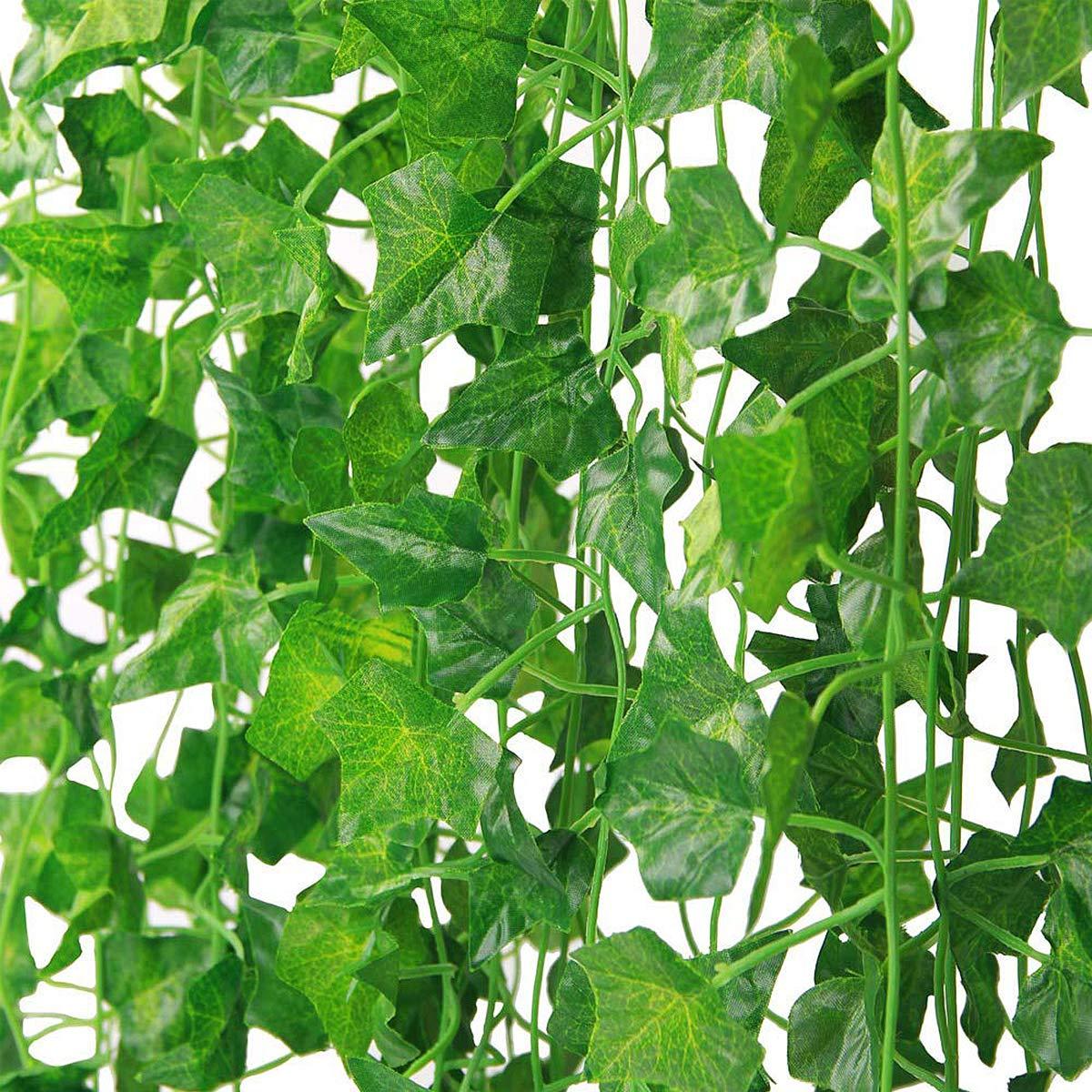 Natuce Lierre Artificiel Guirlande Plantes Vigne 12 Pack 24M Feuilles de Lierre Artificielles en Plastique et en Tissu Artificiel Feuilles Guirlande pour Mariage C/él/ébration Jardin Ext/érieur Deco
