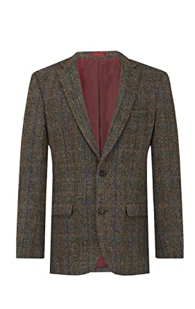 alhaisempi hinta ihan kiva valtava myynti Harris Tweed Mens Brown with Blue Overcheck Tweed Jacket ...