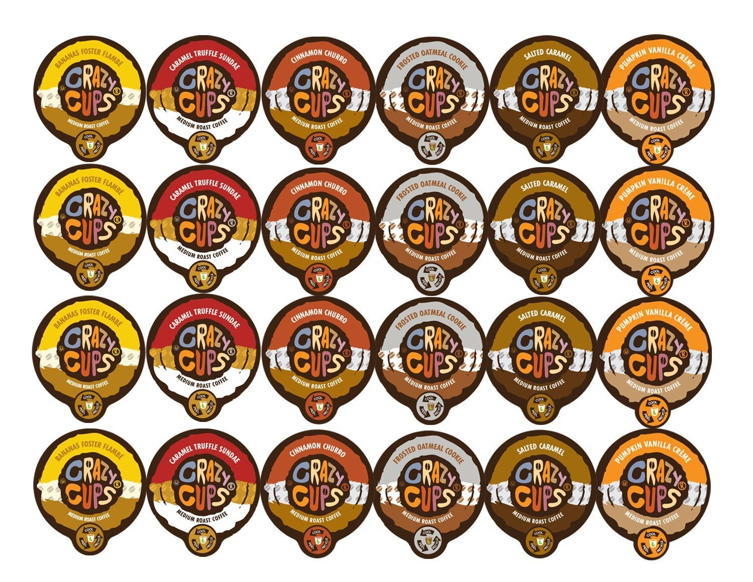 Crazy Cups Coffee Flavor Lovers Single Serve Cups Variety Pack Sampler for the K Cup Brewer, 24 count