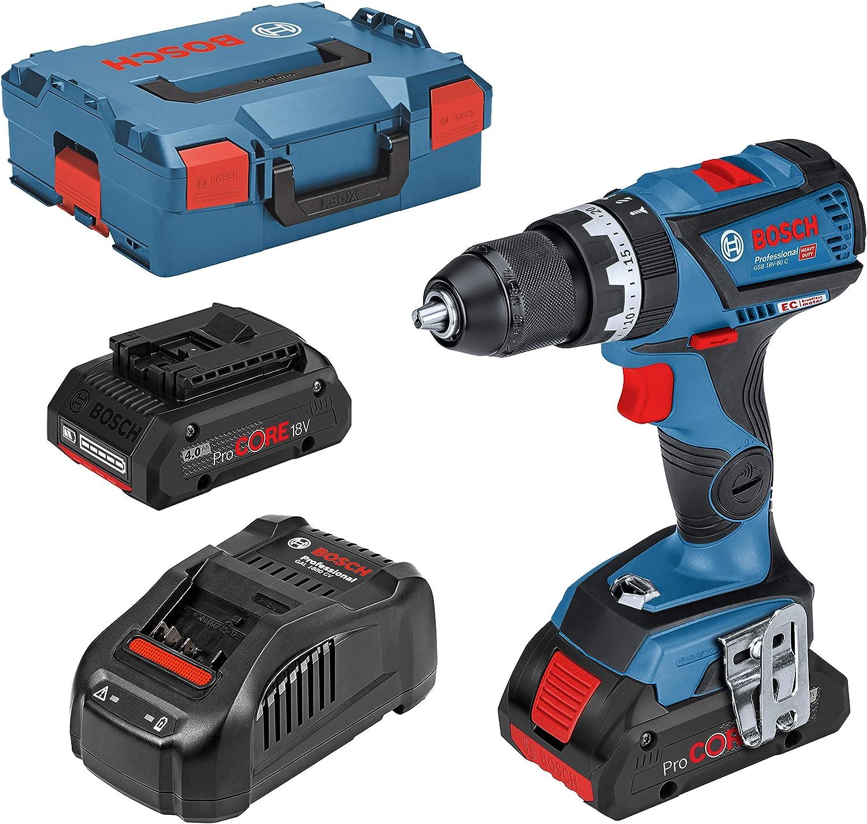 color azul Bosch Professional 06019G2107 GSB 18V-60 C Taladro atornillador de impacto inal/ámbrico 18 V, 4 Ah, iones de litio, incluye 2 bater/ías