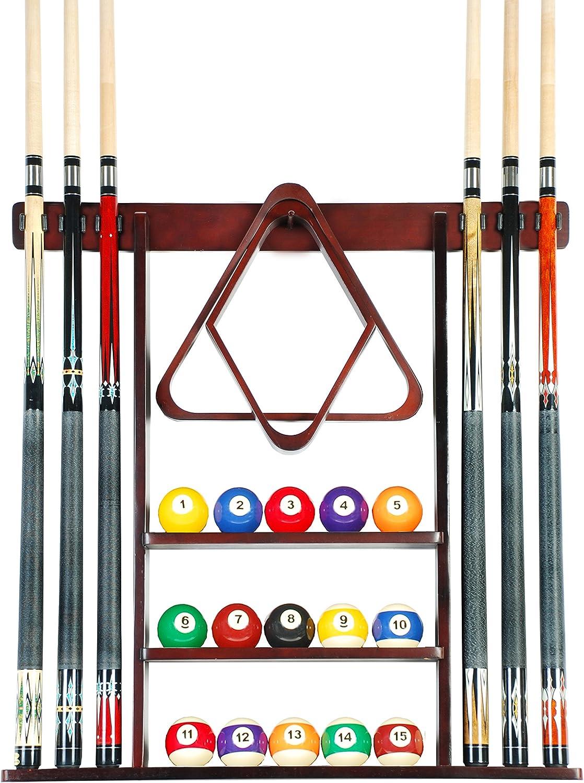 Cue Rack Only - 6 Pool Cue - Billiard Stick Wall Rack Made of Wood ChooseMahogany, Black or Oak Finish
