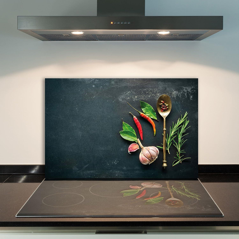 DAMU Ceranfeldabdeckung 1 Teilig 80x52 cm Herdabdeckplatten aus Glas Paprika Schwarz RotElektroherd Induktion Herdschutz Spritzschutz Glasplatte Schneidebrett