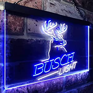 Buschs Light Beer Deer Bar Novelty LED Neon Sign White + Blue W24 x H16