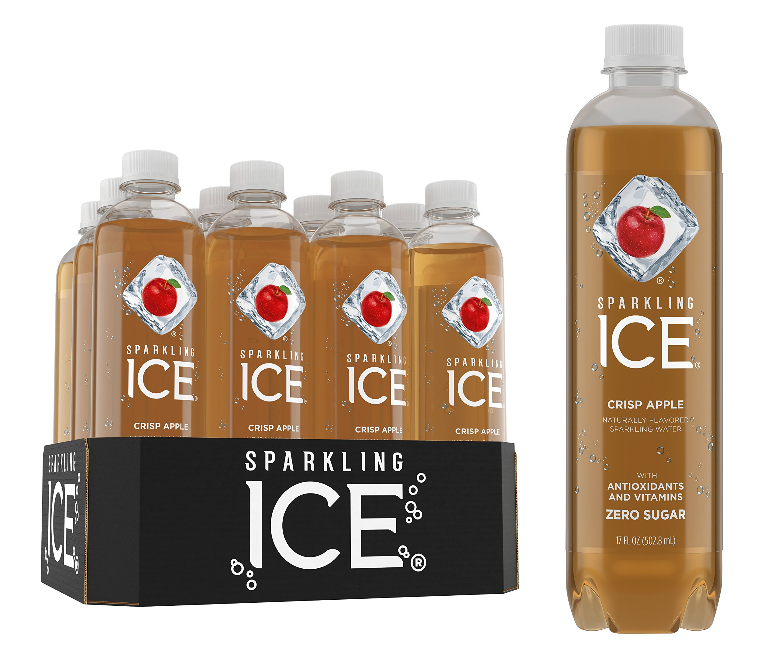 Sparkling Ice, Crisp Apple Sparkling Water, with antioxidants and vitamins, Zero Sugar, 17 FL OZ Bottles (Pack of 12) by Sparkling ICE