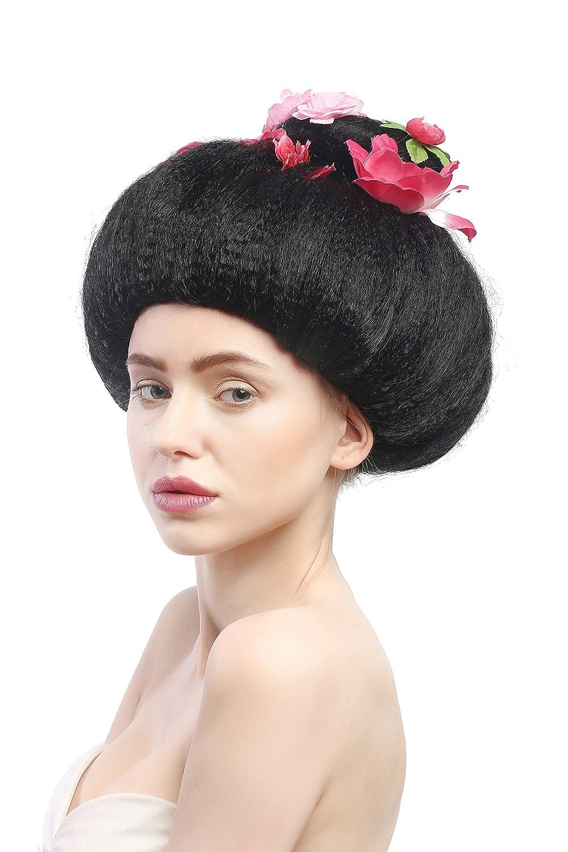 WIG ME UP ® - 4665-ZA103 Peluca señoras Carnaval Halloween Negra moño Geisha Maiko China Japón Flores