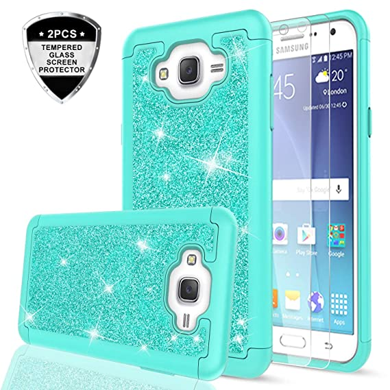 reputable site f8398 df1ba Galaxy J7 Case (2015) with Tempered Glass Screen Protector for Women Girls,  LeYi Luxury Glitter Cute [PC Silicone Leather] Heavy Duty Protective Phone  ...