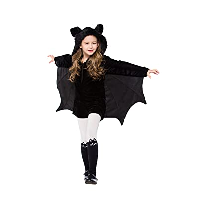 "yolsun Girls' Vampire bat Costume, Halloween Animal Cute Dress up (6-7y(Suggested Height:48""-53""), Black-1): Clothing"