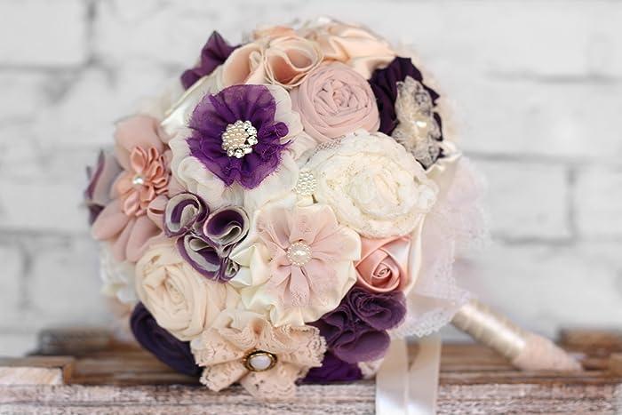 Amazon.com: Bridal bouquet, fabric flowers wedding bouquet, purple ...