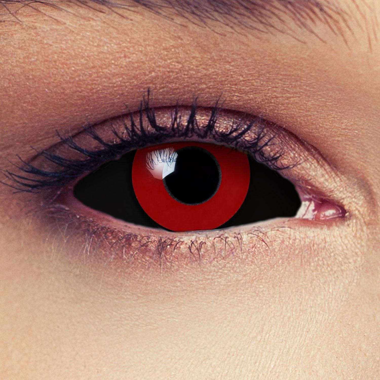 """Designlenses, Dos Sclera lentillas de color negro y rojo para Halloween 22mm Tokyo Ghoul Zombi sin dioprtías/corregir + gratis caso de lente """"Saw"""
