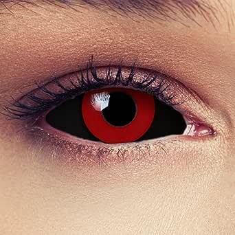 """Sclera lentillas de color negro y rojo para Halloween 22mm Tokyo Ghoul Zombi sin dioprtías/corregir + gratis caso de lente """"Saw"""""""