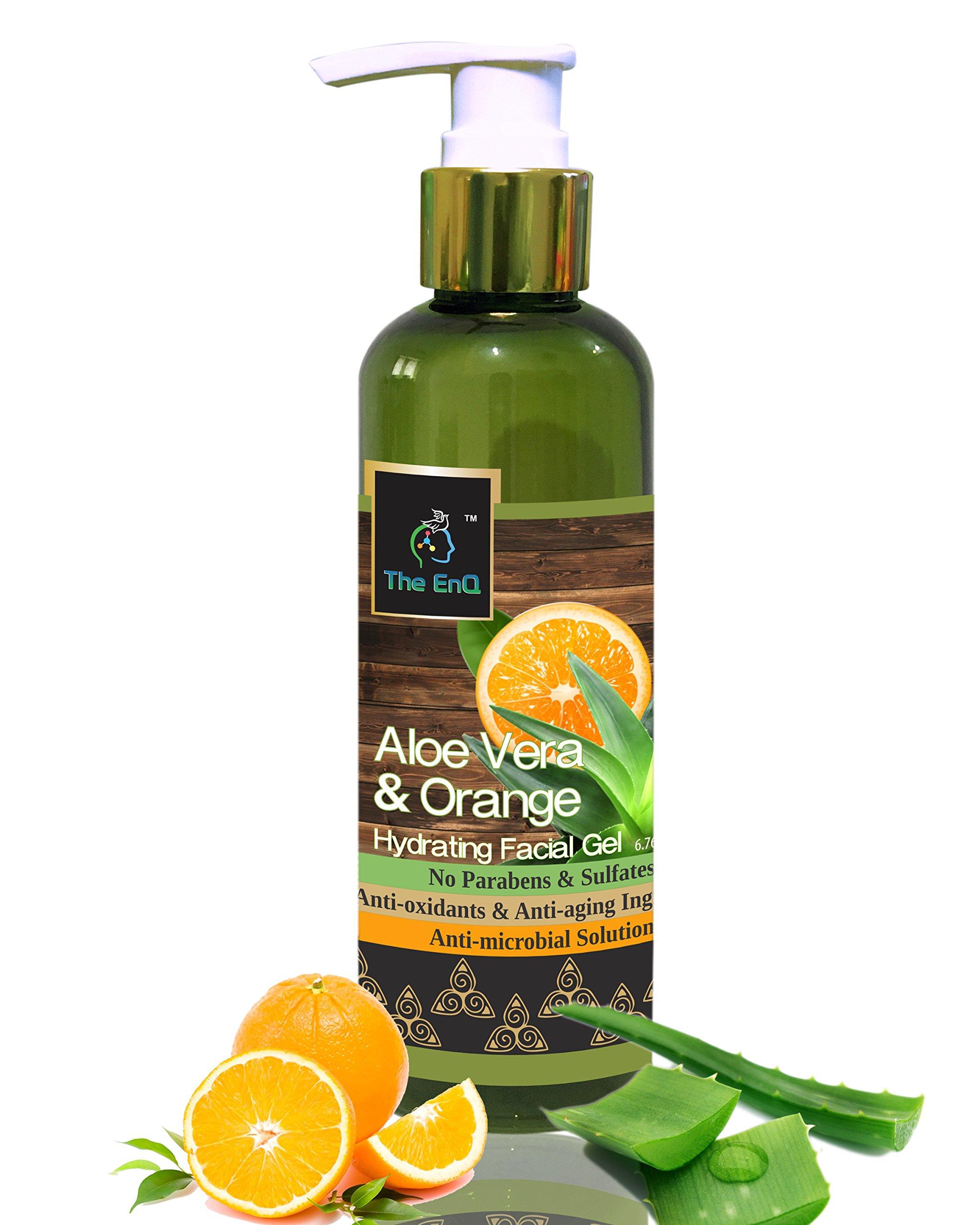 The EnQ Orange & Aloevera Hydrating Facial Gel 200ml/6.76 fl.oz - Paraben free refreshing facial gel - Skin Hydrating Gel, Moisturizer, anti-acne gel product image