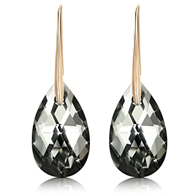 Black Swarovski Crystal Earrings For Women, Ladies Friends Sterling Silver Hypoallergenic Drop Earring Jewelry