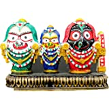 Beautiful handicraft colorful designer home decor marble Show piece idol of lord Krishna Jagannath balaram and devi subhadra . Size in cms (3x3x2)