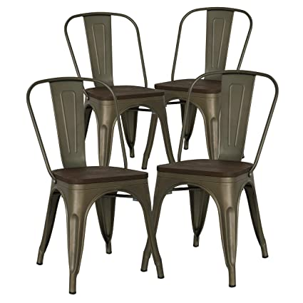 9aedf9ae24 Amazon.com: Poly and Bark Trattoria Side Chair with Elm Wood Seat in ...