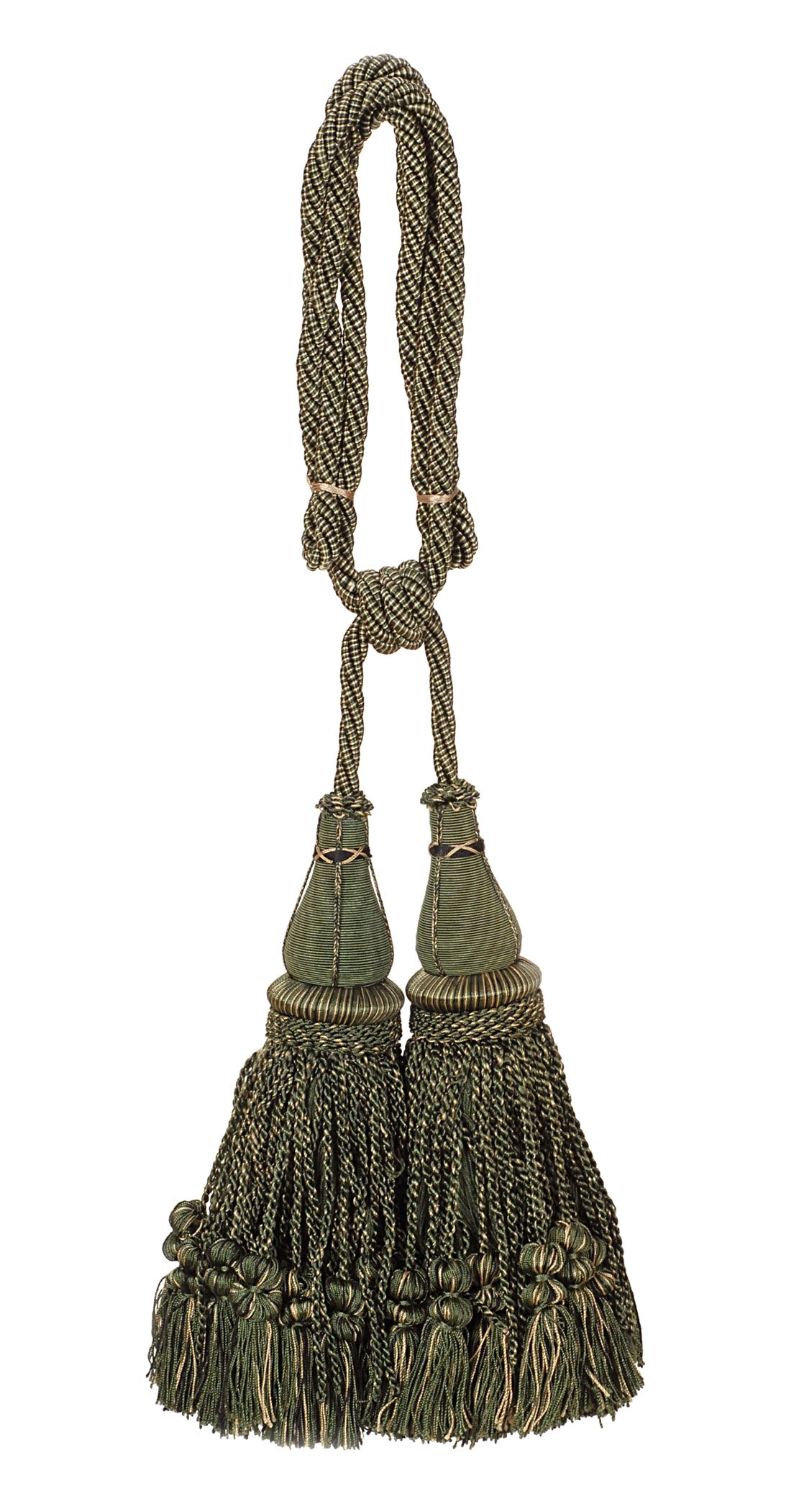 India House 79592 Jhalar Tieback with 10-Inch Double Tassel and 36-Inch Cord, Olive