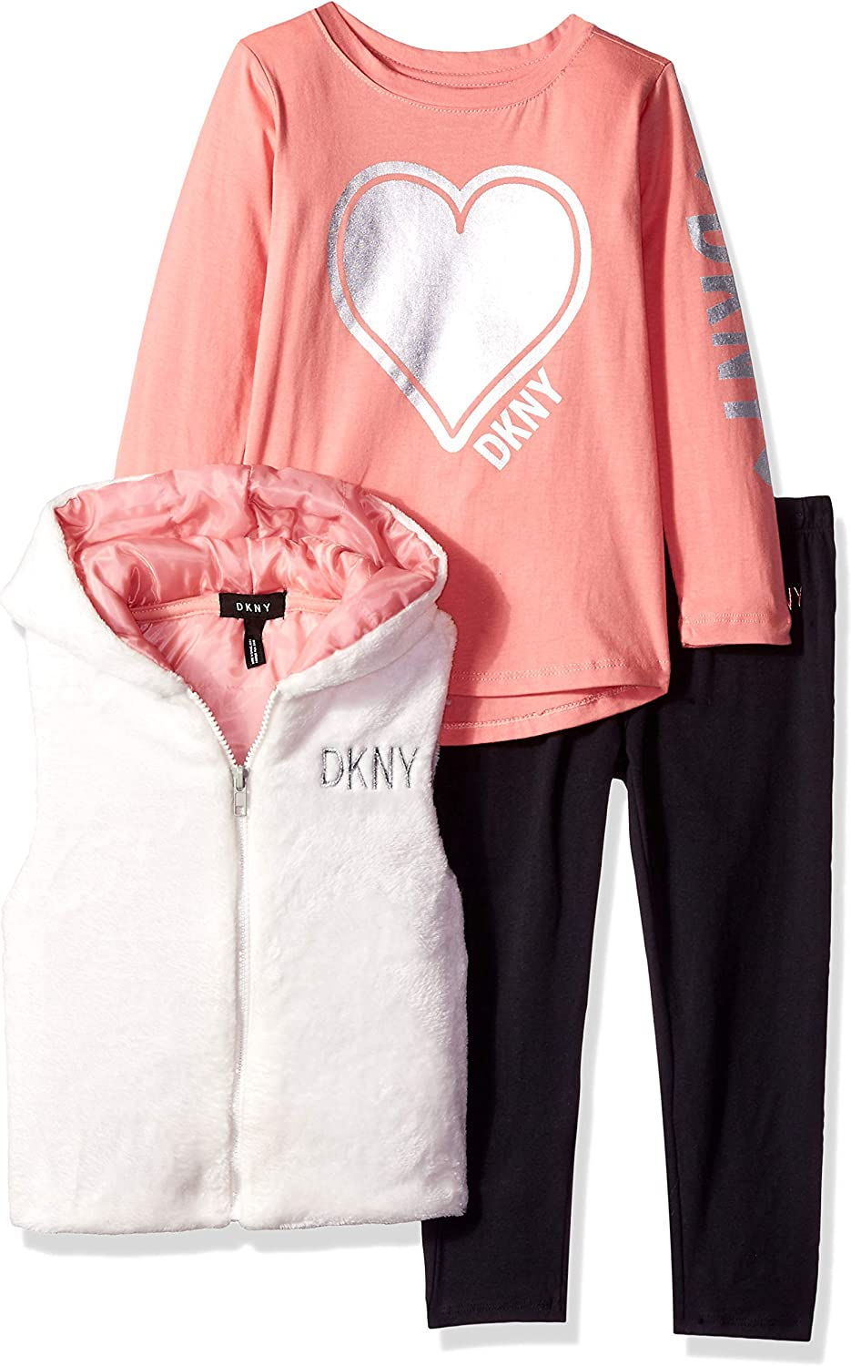 DKNY Girls 3 Piece Heart T-Shirt Hooded Vest and Pant Set