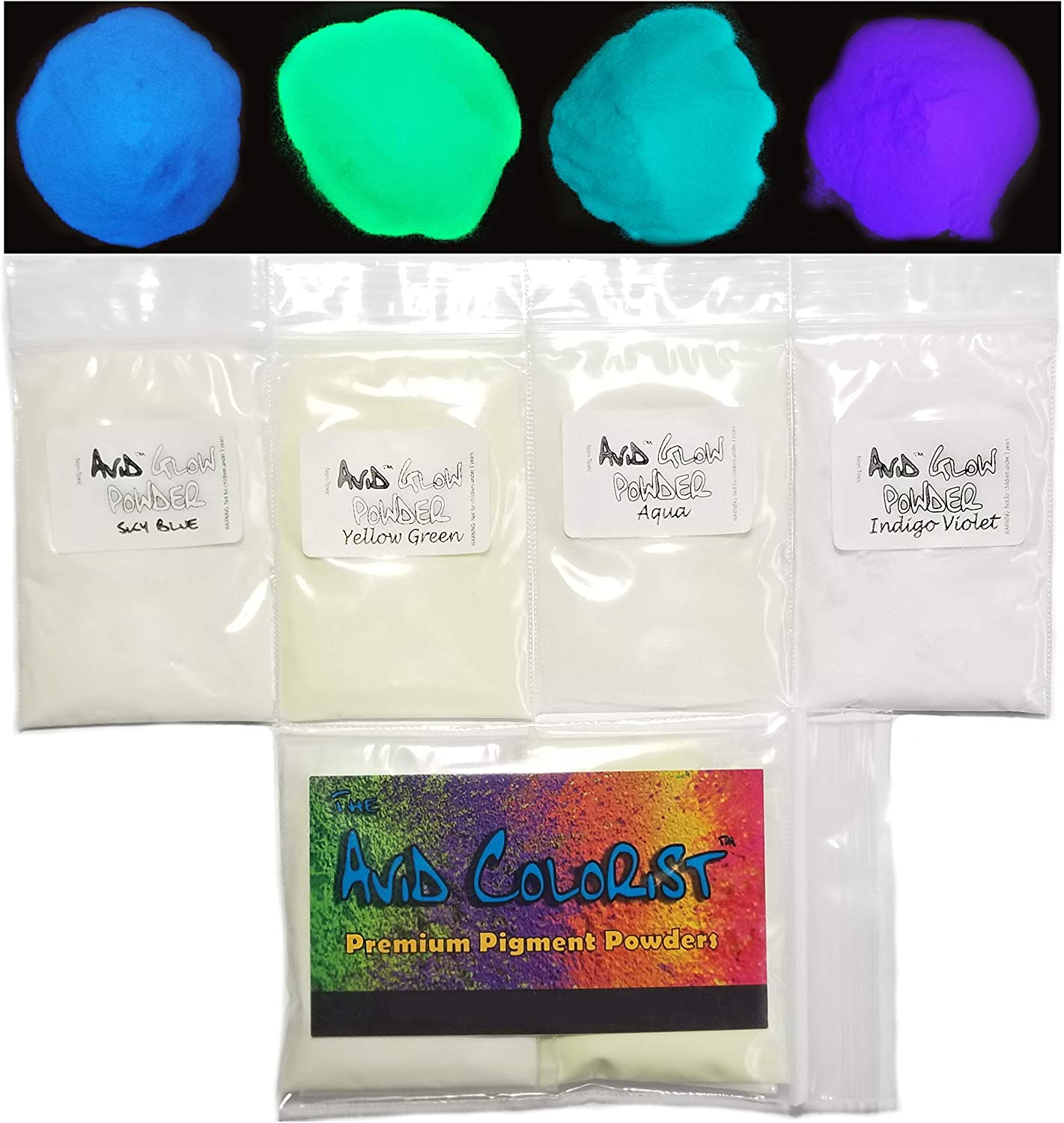 THE AVID COLORIST- Glow Powder Pigment- 4 Color Neutral in Daylight Pack- 2.1oz/60g Total- for Resin, Slime, Nail Polish, Coatings, Paint- Glow in The Dark Pigment Powders- Strontium Aluminate