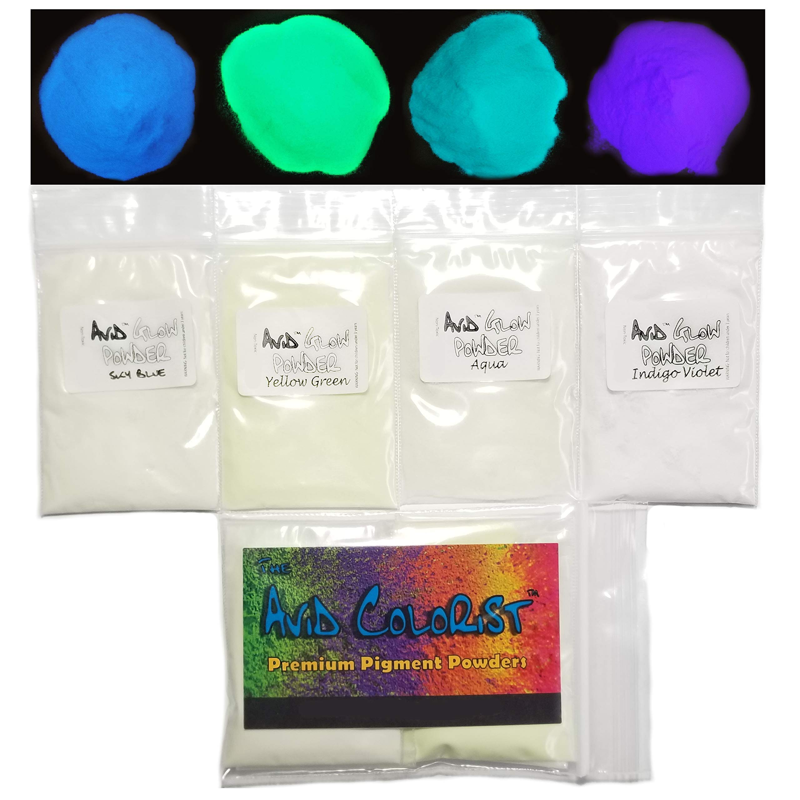 Glow in The Dark Pigment Powder - Neutral in Daylight; 4 Color Glow Powder Pack 15g Each; Sky Blue, Yellow Green, Aqua, Indigo Violet for Resin, Epoxy, Slime, Nail Polish, Paint by The Avid Colorist
