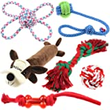 Well Love Dog Toys - Chew Toys - 100% Natural Cotton Rope - Squeak Toys - Dog Balls - Dog Bones - Plush Dog Toy - Dog Ropes - Tug of War Ball - Toys for Dog 6pack Gift Set