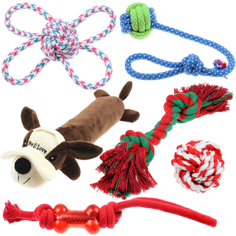Well Love Dog Toys - Chew Toys - 100% Natural Cotton Rope - Squeak Toys - Dog Balls - Dog Bones - Plush Dog Toy - Dog Ropes - Tug of War Ball - Toys for Dog 6pack Gift Set Yiwu Shengshi