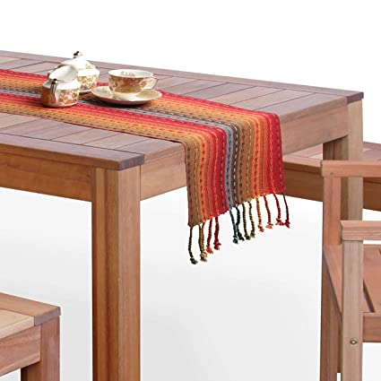 Generic Cotton Quest Dining Table Runner - Multicolour with tasills