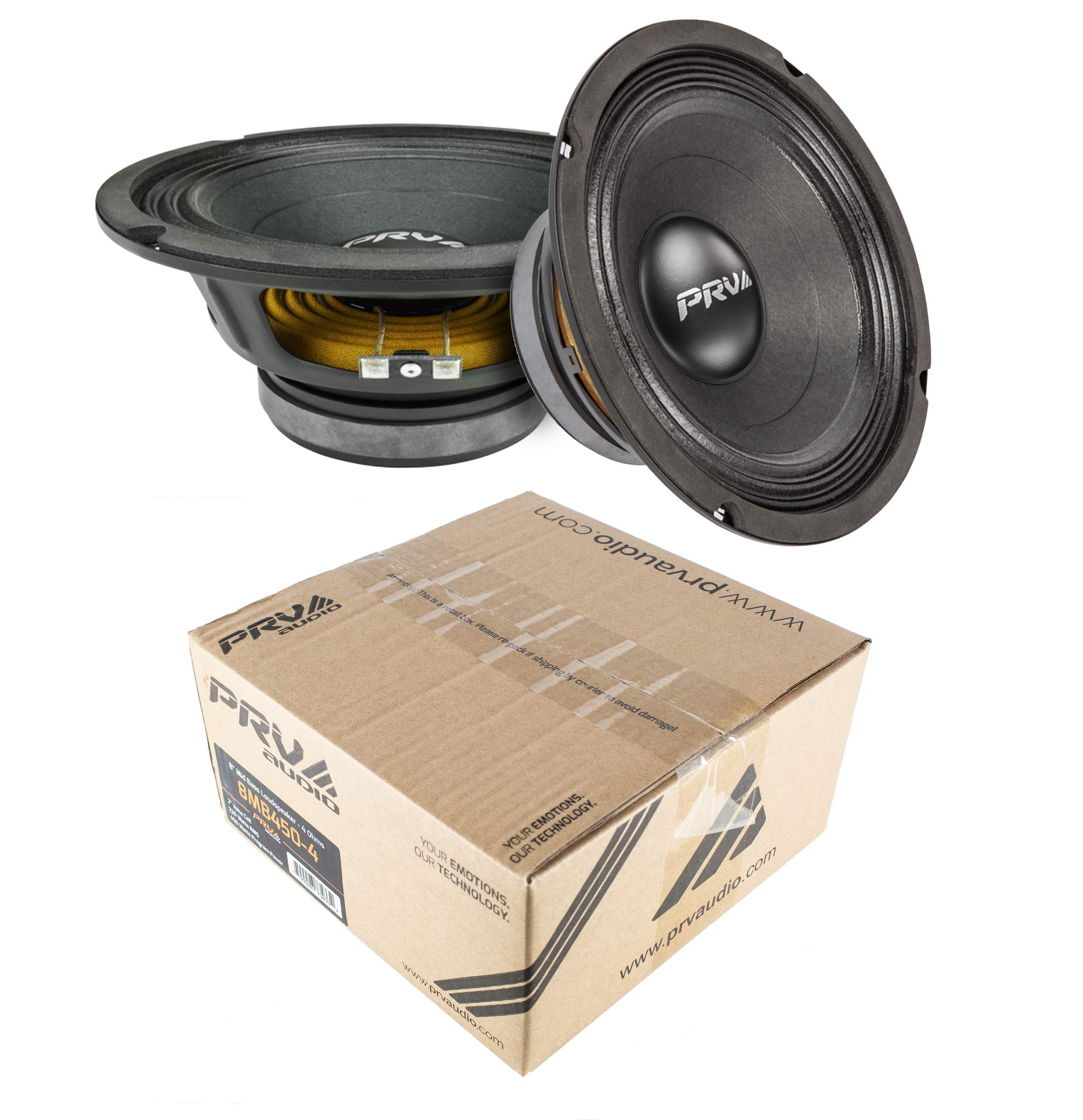 PRV Audio 8MB450-4 8'' Midbass Mid Range Woofer 4 ohms 900 Watts 96 dB 2'' Voice Coil 1 Pair