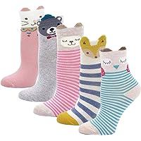 LOFIR Calcetines Divertidos de Algodón para Niñas Calcetines Animales , Calcetines con Dibujos de Perro Gato, Calcetines…