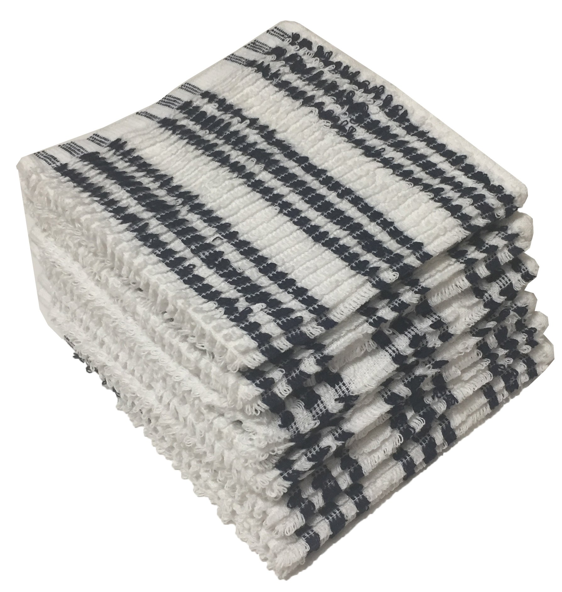 100% Cotton Dish cloths for Kitchen, Size: 13 x 13 inches for Maximum Softness and highly Absorbent Kitchen dishcloths, Machine Washable. (12, White with Blue Stripe)