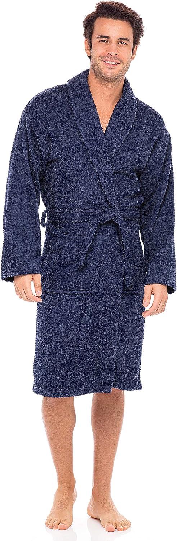 SKYLINEWEARS Men's 100% Terry Cotton Bathrobe Shawl Collar Toweling Robe Spa Robes