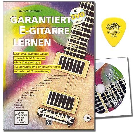 garantiza S Guitarra de aprendizaje de guitarra, escuela de Bernd brümmer con DVD y Dunlop Púa - con más de 300 Licks, Riffs y übungenmit más de 300 Licks, ...