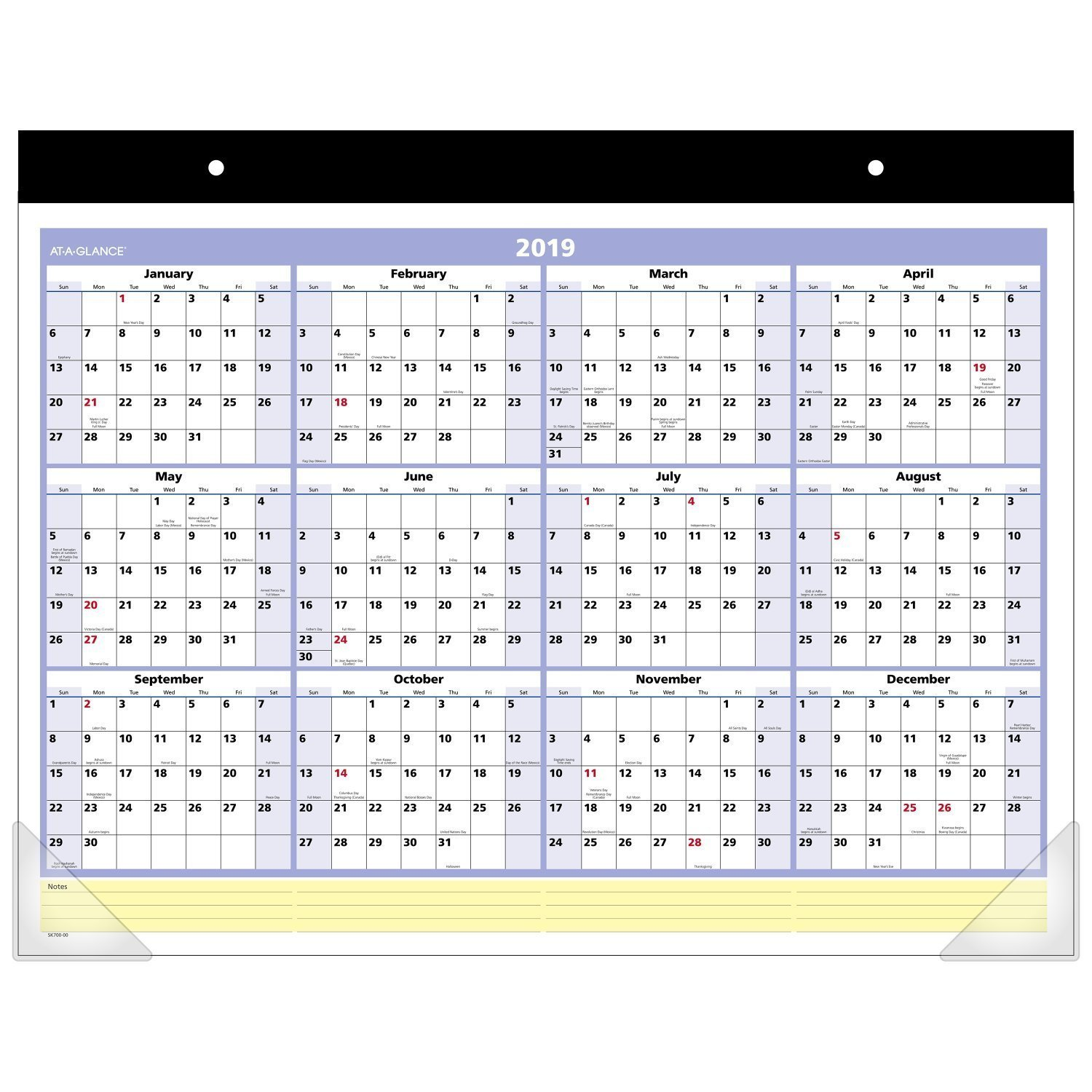 AT-A-GLANCE Monthly Desk Pad Calendar, QuickNotes, January 2019 - December 2019, 22'' x 17'' (SK70000-19) With Westcott Support Breast Cancer Scissor (PACK of 12) by CreativeRewards-Calendar (Image #1)