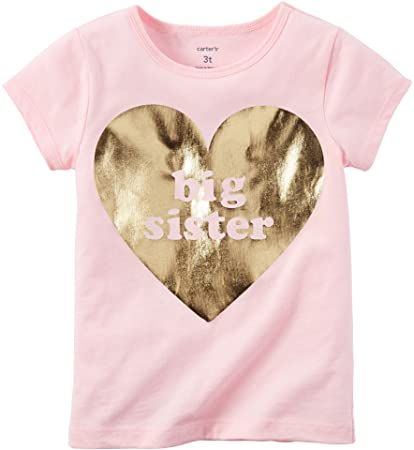 57b32649e795 Image Unavailable. Image not available for. Color: Carters Little Girls Big Sister  Foil Tee Pink 3T
