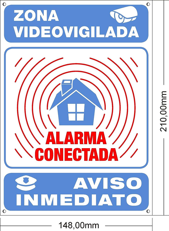 ★★★★★ Cartel disuasorio interior/exterior Premium y Ultra-resistente metálico, Cartel disuasorio alarma conectada aviso policía, 21x15 cm ★★★★★