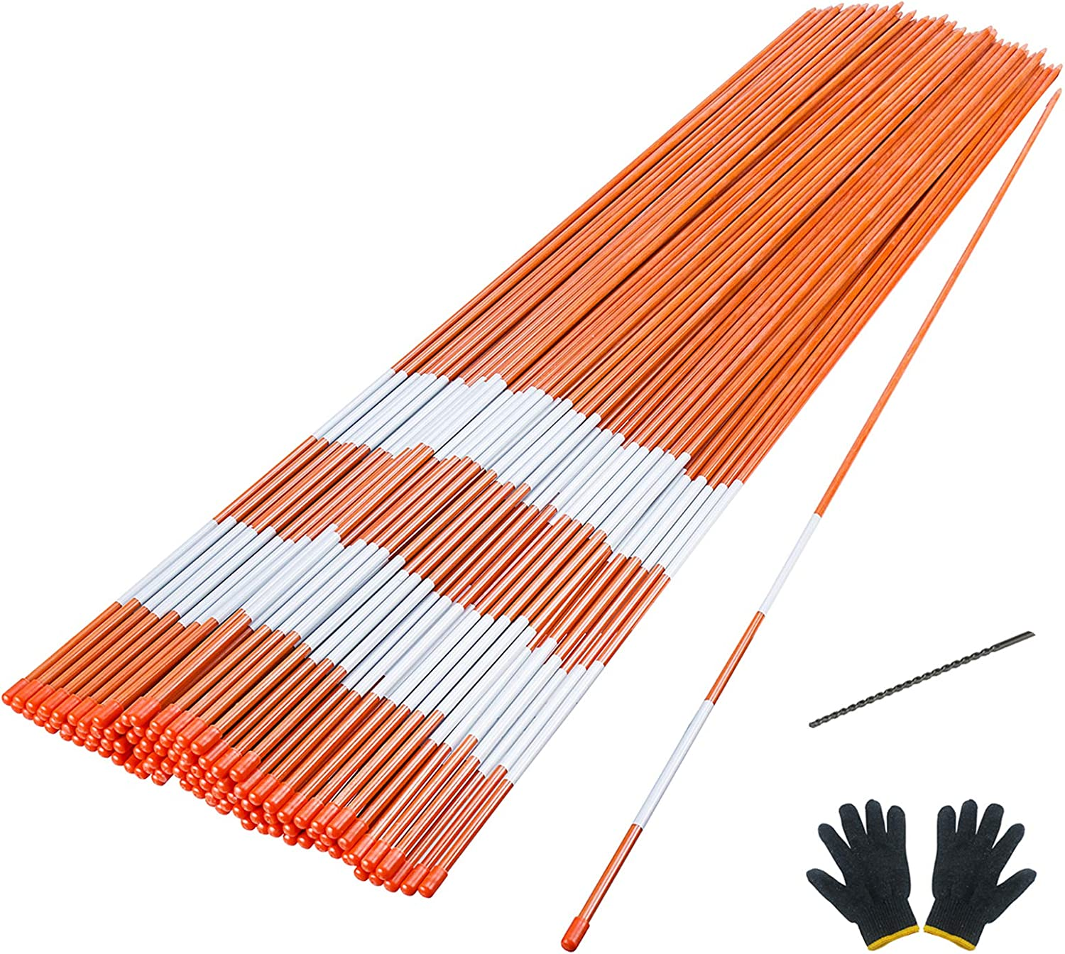 Sturdy Fiberglass Snow Plow Markers with Thick 5//16 Diameter Pack of 24 Driveway Markers 48 Inch Reflective Snow Stakes Driveway Posts with Pointed Ends and Protective Caps