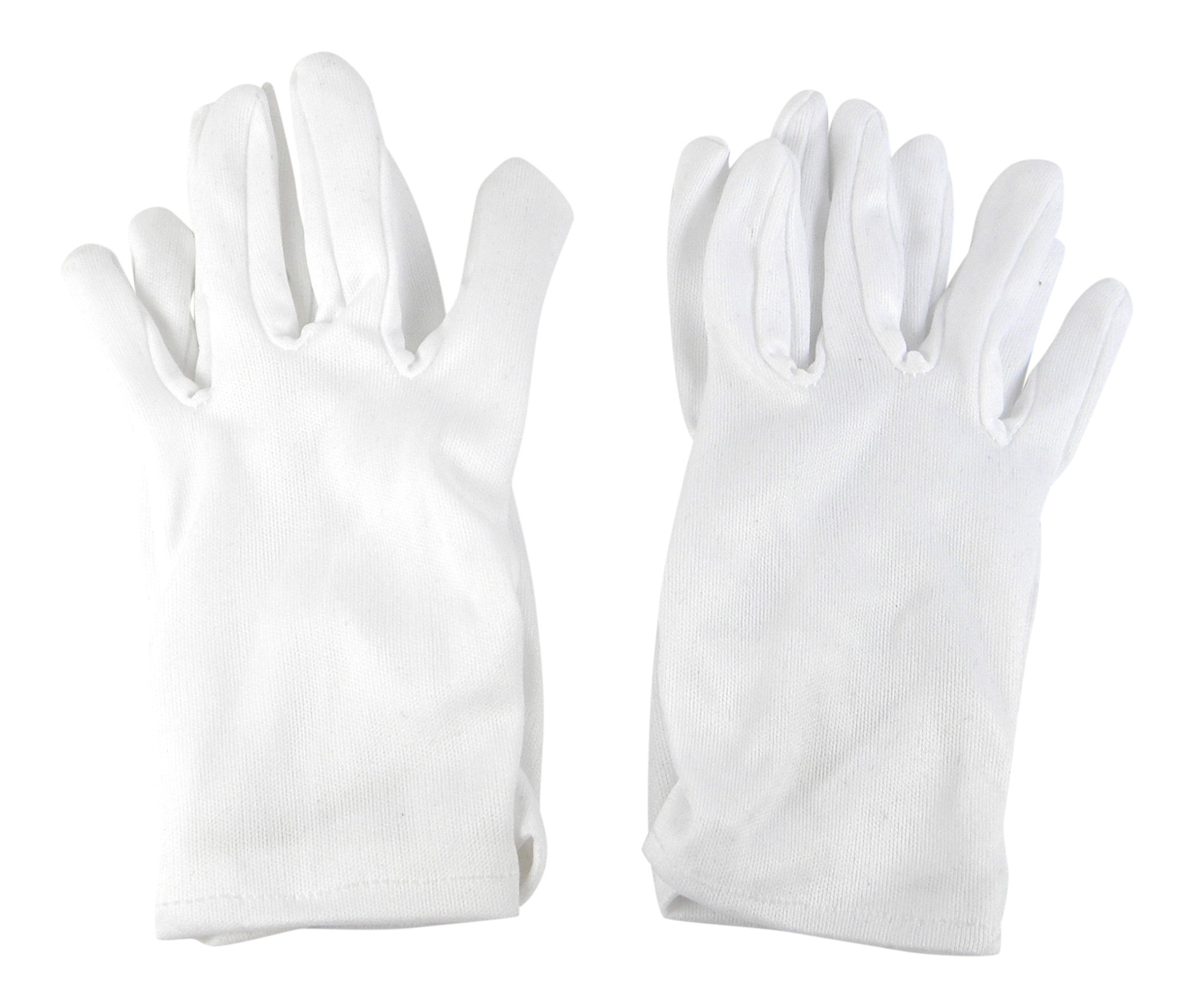Girls Tea Party Stretch Polyester Dress Short Gloves Set of 4 White Childrens