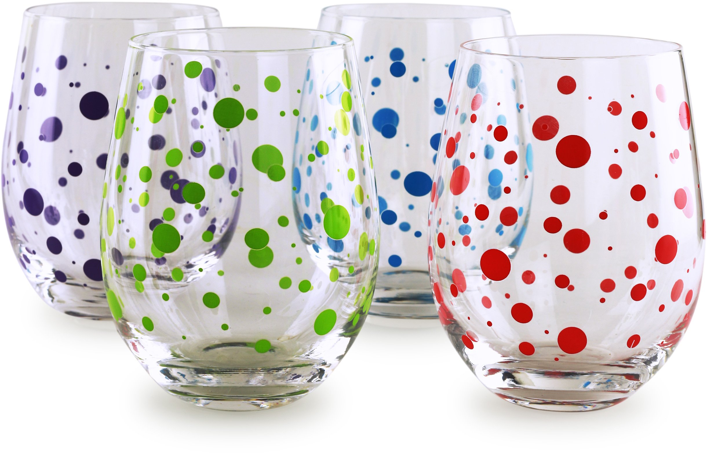 Circleware 77027 Polka Dots Stemless Wine Glasses, Set of 4 Drinking Glassware for Water, Juice, Beer, Liquor and Best Selling Kitchen and Home Decor Bar Dining Beverage Gifts, 18.9 oz, Colored