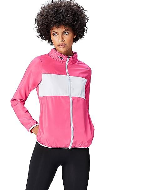 Activewear Chaqueta Shell Cortavientos para Mujer, Fucsia/Gris Claro, 36 (Talla del
