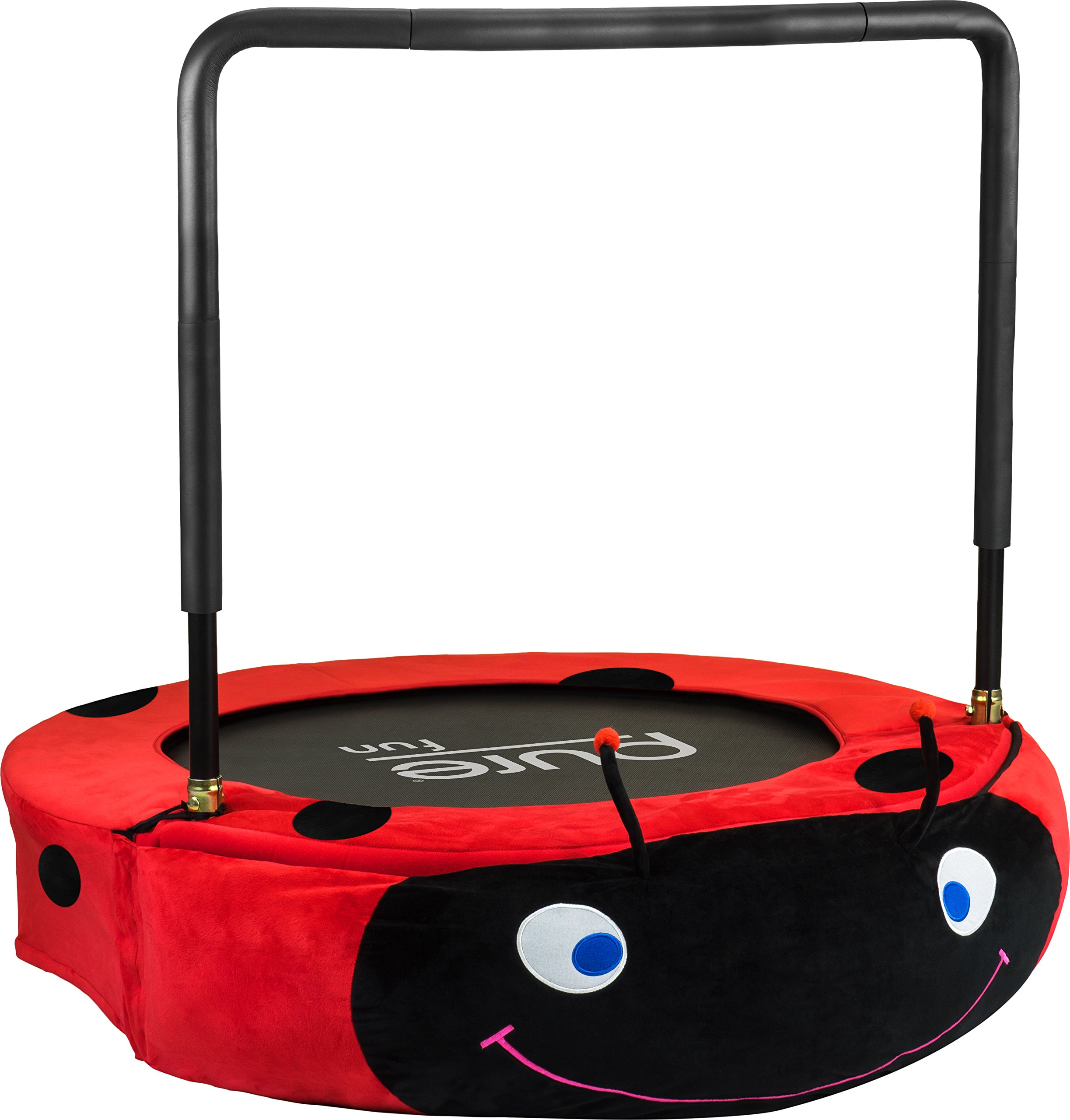 Pure Fun Kids Jumper: 38'' Ladybug Mini Trampoline with Handrail, Youth Ages 4 to 10