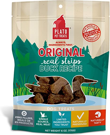 Plato Original Real Strips Dog Treats, Meat Bars Made for Chomping