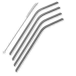 SipWell Extra Long Stainless Steel Drinking Straws Set of 4, Straws for 30 oz Tumbler and 20 0z Tumbler, Fits RTIC Tumbler | Fits all Yeti Ozark Trail SIC & RTIC Tumblers, Cleaning Brush Included.