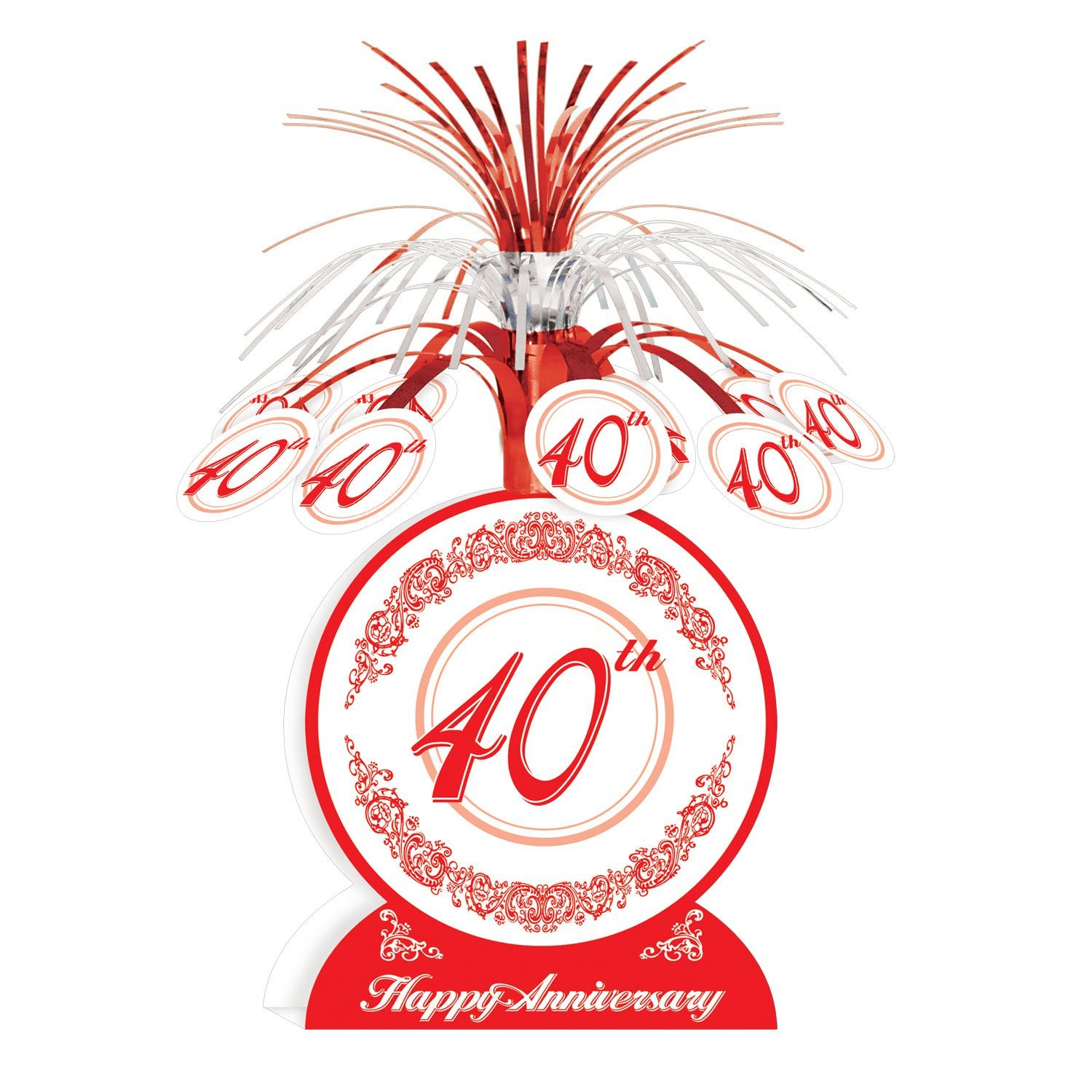 Amazon.com: 40th Anniversary Centerpiece Party Accessory (1 count ...